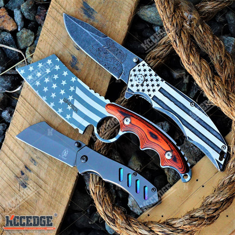 "3PC SET Mini 6.5"" CLEAVER + FIXED Patriotic CLEAVER + ""Don't Tread on Me"" KNIFE"