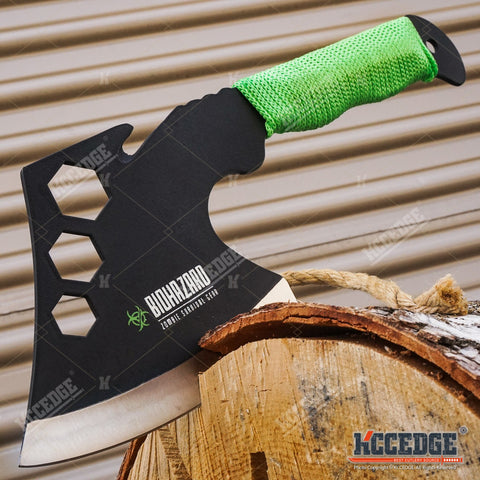"14.5"" Zombie Survival TOMAHAWK GUT HOOK THROWING Axe Featuring HEXAGON HOLES"