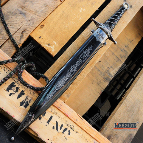 "16.25"" Medieval Renaissance Knights Dress Dagger Damascus Unsharpened Sword"