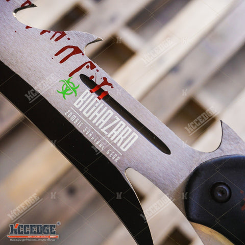 "27"" Biohazard Zombie Killer Machete Axe w/Two Tone Blade"