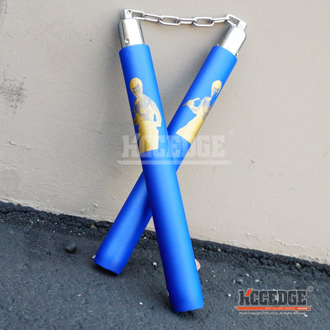 "BRUCE LEE PATTERN 12"" FOAM Nunchucks Nunchaku for Martial Art Karate Training"
