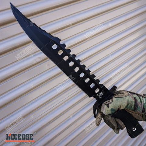 "17"" Stainless Steel Survival Fixed Blade Tactical Knife with Sheath"