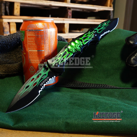 "12 3/8"" Double Blade Half Serrated Drop Point Skulls & Flames Pocket Knife"