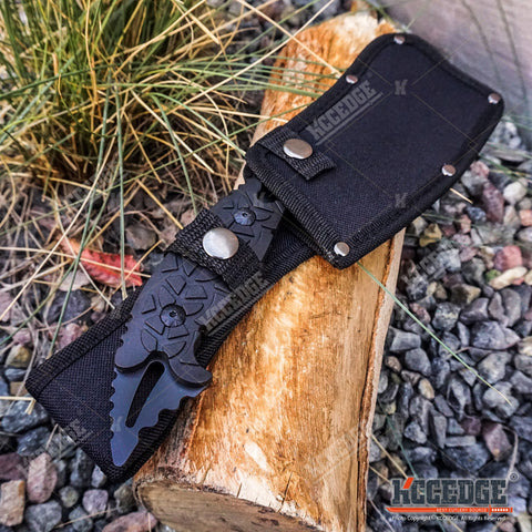 "11.5"" CAMPING HUNT SURVIVAL Wartech Fixed Blade CLEAVER Serrated Back w/ Sheath"