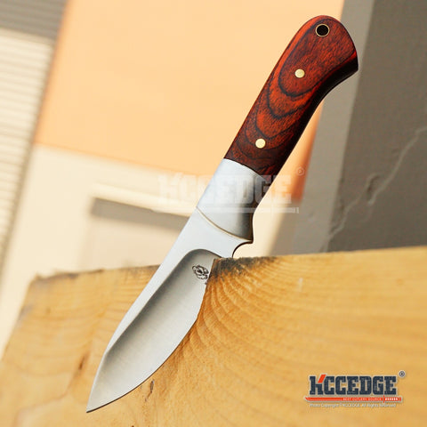 "BUCKSHOT 8"" FIXED BLADE HUNTING FISHING CAMPING Red Wooden Handle SURVIVAL Knife w/ Sheath"