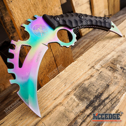 3PC FIXED BLADE RAINBOW SET Serrated Back Karambit + HAWKBILL + CSGO KARAMBIT