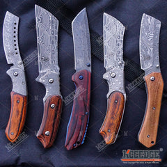 5PC DAMASK HUNTING KNIFE SET 1PC FIXED BLADE CLEAVER + 4PC POCKET CLEAVER