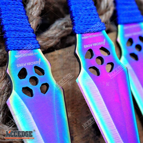 "3PC 6.5"" Double Edged RAINBOW Technicolor NINJA KUNAI THROWING KNIFE SET OUTDOOR"