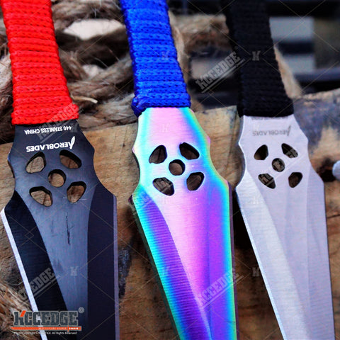 "3PC 6.5"" Double Edged ASSORTED Technicolor NINJA KUNAI THROWING KNIFE SET XMAS"