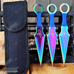 "3PC 6.5"" Double Edged Scorpion Design RAINBOW KUNAI THROWING KNIVES SET"