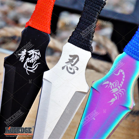 "3PC 6.5"" ASSORTED Dragon & Scorpion Design NINJA KUNAI THROWING KNIVES SET XMAS"