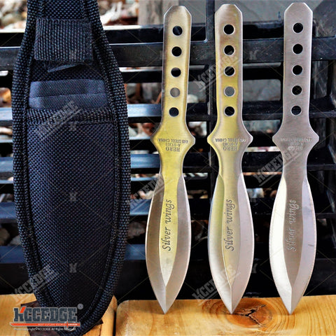 "3PC 6.5"" CHROME Full Tang Double Edge NINJA THROWING Knife Set w/Sheath"