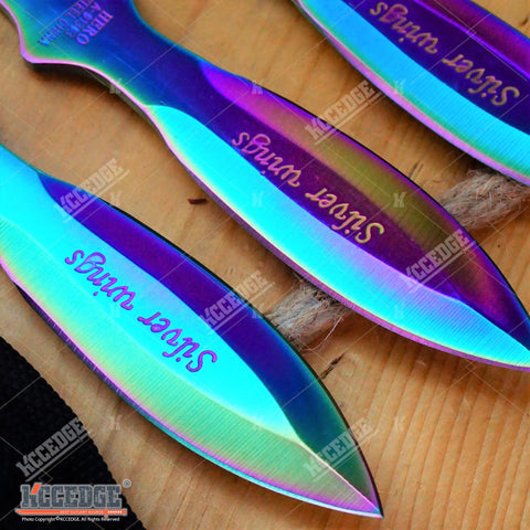 "3PC 6.5"" RAINBOW Full Tang Double Edge NINJA THROWING Knife Set w/Sheath OUTDOOR"