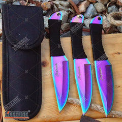 "3PC 6.5"" SKYHAWK RAINBOW Sharp Tip THROWING Throwing Knife Set w/Sheath OUTDOOR"