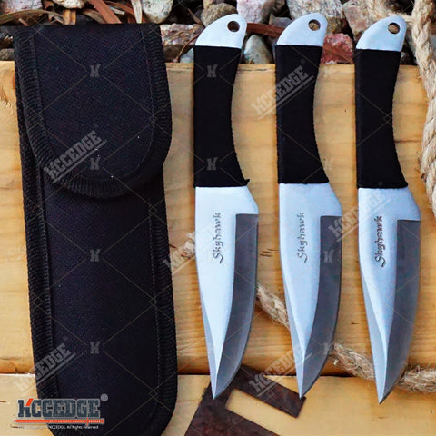 "3PC 6.5"" SKYHAWK CHROME Sharp Tip THROWING Throwing Knife Set w/ Sheath OUTDOOR"