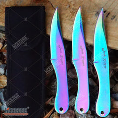 "3PC 6.5"" JACK RIPPER RAINBOW Sharp Point NINJA THROWING KNIVES w/ Sheath OUTDOOR"
