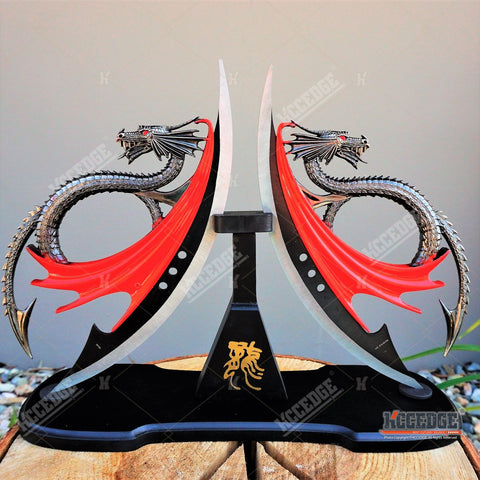 Twin Dragon DAGGER Display Collectibles Unsharpened Blade with Wooden Stand