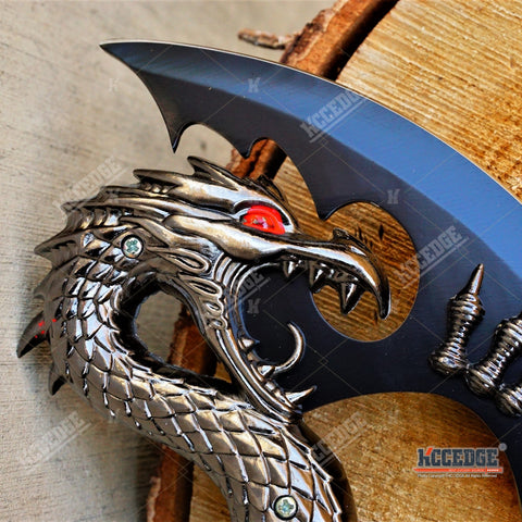 Double FIRE Dragon Display Collectibles Unsharpened Blade with Wooden Stand