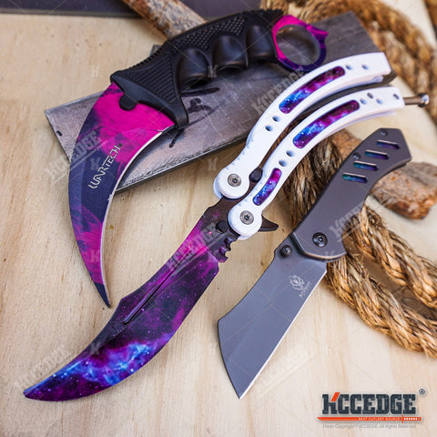 3PC CSGO NonSharp Balisong + CSGO FIXED Karambit + Little CLEAVER Knife