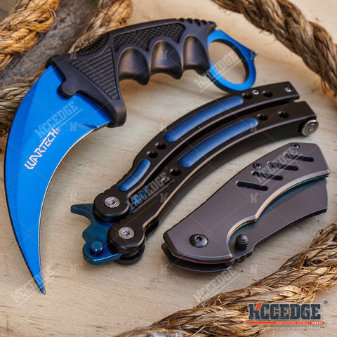 3PC CSGO NonSharp Blue Galaxy Balisong + FIXED Karambit + Little CLEAVER Knife