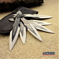 "6PC 5.5"" Thunder Bolt Throwing Knife Ninja Kunai w/ Arm Sheath Pouch"