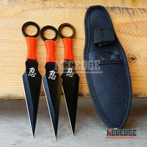 "3PC 6.5"" Double Edge NINJA THROWER Knife Set w/Sheath"