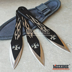 "3PC 6.25"" IRON CROSS BLACK NINJA FLAME Throwing Knife Set w/ Sheath"