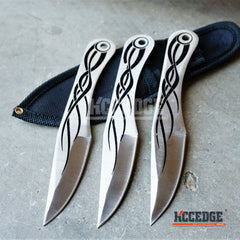 "3PC 6.5"" NINJA KUNAI Flame Throwing Knife Set with Sheath"