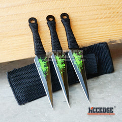 "3PC 5.5"" KUNAI ZOMBIE Green Splatter Throwing Knife Set w/Sheath"