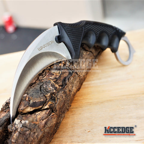 2PC CSGO COMBO Black HUNTSMAN FIXED BOWIE KNIFE + CHROME KARAMBIT