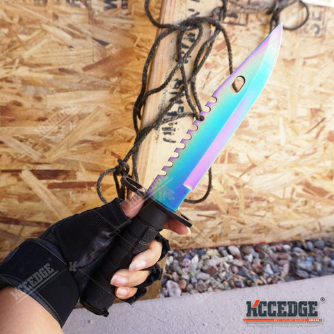 "12.5"" SWAT TEAM CS GO Tactical Fixed Blade Hunting Bayonet Bowie Military Combat Knife"