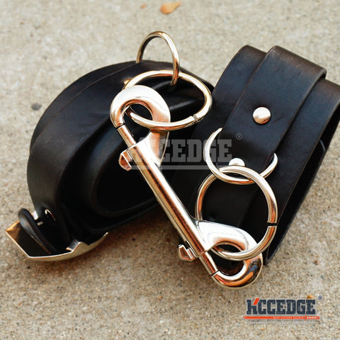 Faux Leather BLACK WRIST HANDCUFFS Belt Buckle Sex Toy COSPLAY Restraint