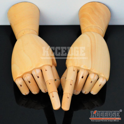 MANNEQUIN POSEABLE WOODEN HANDS Moveable Fingers/Wrist Right/Left Artist Display
