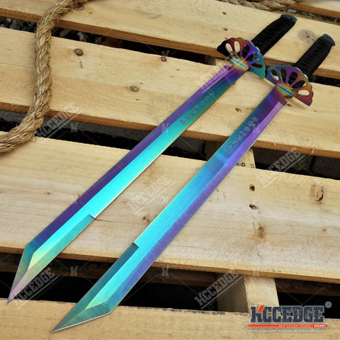 "26"" 2PC Dual Sword Ninja Machete TANTO BLADE Tactical Hunting Gear SHIP FAST"