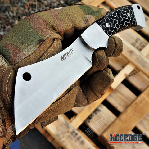 "8"" FIXED BLADE CLEAVER KNIFE MTECH FOREST HUNTING TACTICAL CAMPING RAZOR +Sheath"