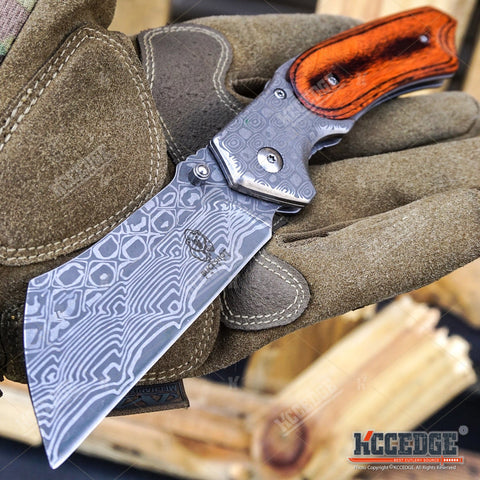 4PC Damascus Etched Cleaver Set - 1 FIXED BLADE + 3 ASSISTED OPEN FOLDING KNIVES