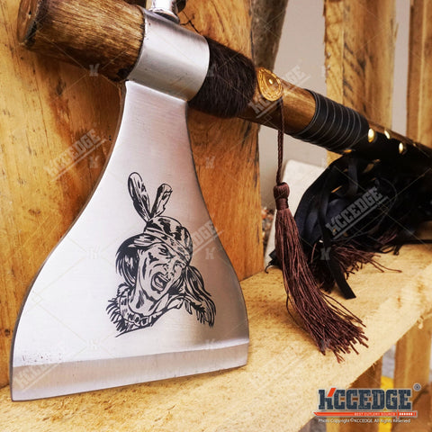 "19"" NATIVE AMERICAN TOMAHAWK PEACE PIPE AXE Replica w/ Functional Pipe"