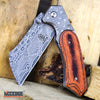 Image of 4PC US Flag FIXED CLEAVER + Damascus Cleaver + SHAVER CLEAVER + Tanto CLEAVER
