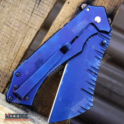 2PC MULTITOOL KNIFE SET Blue MECHANICS WRENCH KNIFE + COMBAT CLEAVER Knife