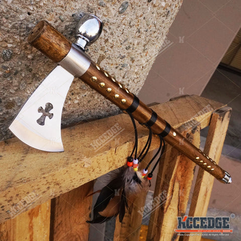 "19"" NATIVE AMERICAN PEACE PIPE HATCHET TOMAHAWK Replica w/ Functional Pipe"
