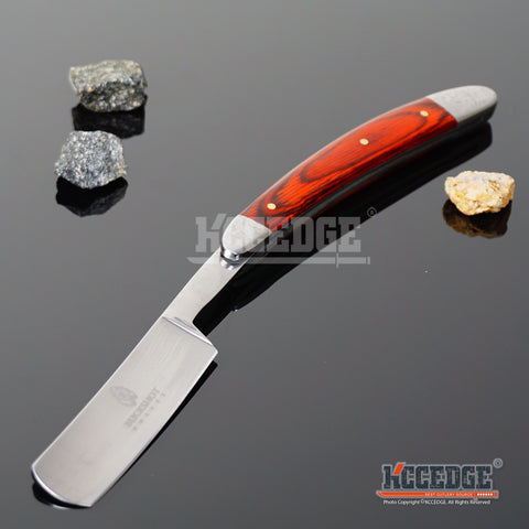 "10"" BUCKSHOT STRAIGHT RAZOR Stainless Steel Blade Pocket Knife w/ Inlay Handle"
