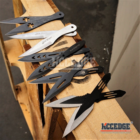 "5 Types 2PC 5.5"" TACTICAL NINJA COMBAT THROWING Knife Set Military Kunai Throwers w/ Sheath Sharp Tip Point High Impact"