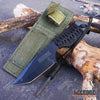 "Image of 7"" Camping Survival Firestarter BLACK THROWING KNIFE FULL TANG Paracord Wrapped"