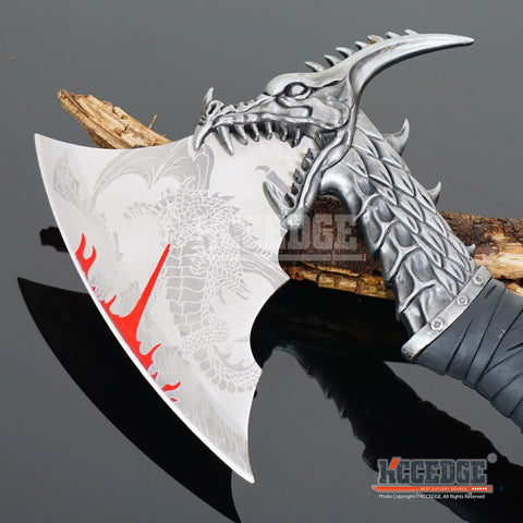 "14.5"" Fantasy Dragon Axe Knife Sword Dagger w/ Display Stand"