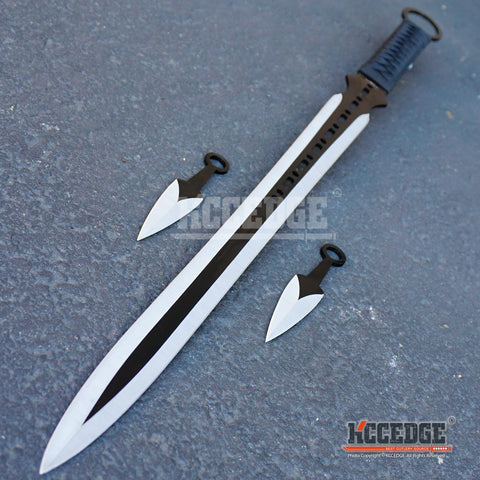 "27"" Full Tang Ninja Katana Machete w/ Throwing Knives"