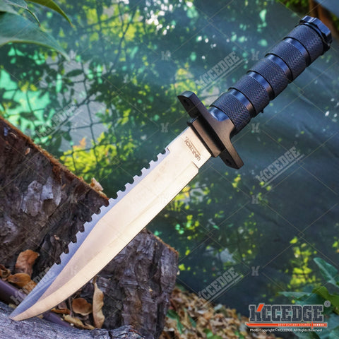 "12"" WARTECH SURVIVAL KNIFE Fixed CLIP Blade w/ Serrated Sawback Survival Kit"
