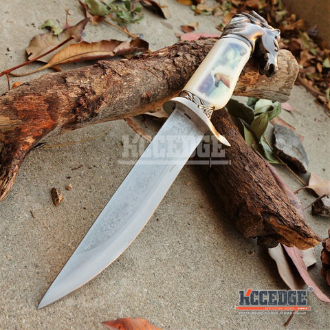 "13"" COLLECTOR'S HUNTING WILDLIFE DAGGER 5 Types Animal Head Pommel Fixed Blade Graphic Scene on Scabbard"