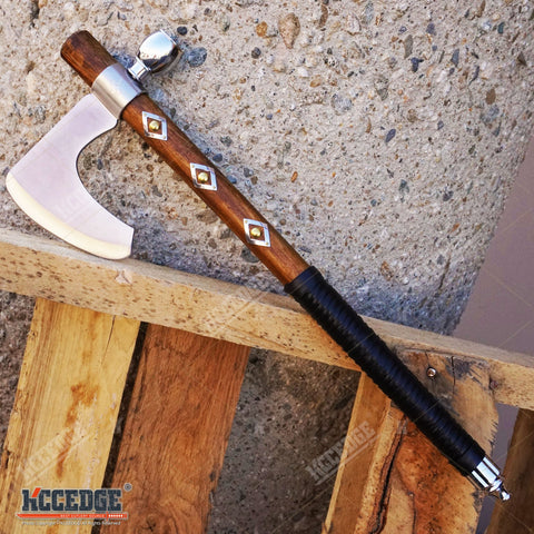 "19"" NATIVE AMERICAN TOMAHAWK Replica Hatchet PEACE PIPE with Functional Pipe"