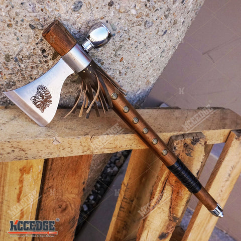 "19"" NATIVE AMERICAN PEACE PIPE TOMAHAWK Replica HATCHET with Functional Pipe"