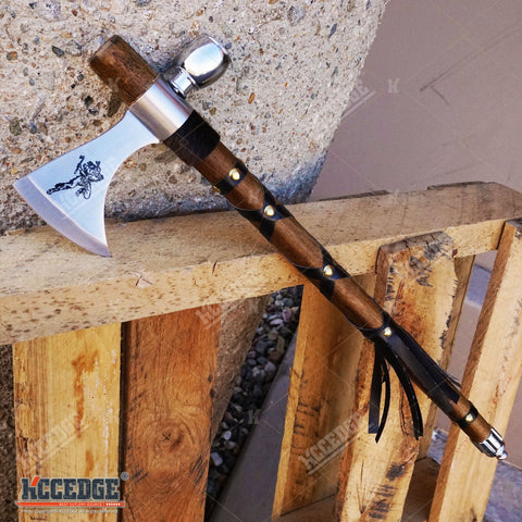 "19"" NATIVE AMERICAN PEACE PIPE TOMAHAWK COMBAT AXE Replica w/ Functional Pipe"